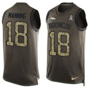 Wholesale Cheap Nike Broncos #18 Peyton Manning Green Men's Stitched NFL Limited Salute To Service Tank Top Jersey