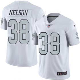 Wholesale Nike Raiders #38 Nick Nelson White Men\'s Stitched NFL Limited Rush Jersey