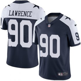 Wholesale Cheap Nike Cowboys #90 Demarcus Lawrence Navy Blue Thanksgiving Youth Stitched NFL Vapor Untouchable Limited Throwback Jersey