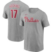 Wholesale Cheap Philadelphia Phillies #17 Rhys Hoskins Nike Name & Number T-Shirt Gray