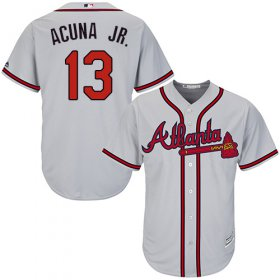 Wholesale Cheap Braves #13 Ronald Acuna Jr. Grey Cool Base Stitched Youth MLB Jersey