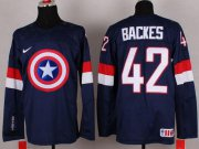 Wholesale Cheap Olympic Team USA #42 David Backes Navy Blue Captain America Fashion Stitched NHL Jersey