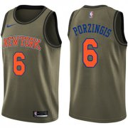 Wholesale Cheap Nike New York Knicks #6 Kristaps Porzingis Green Salute to Service NBA Swingman Jersey