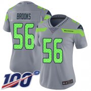 Wholesale Cheap Nike Seahawks #56 Jordyn Brooks Gray Women's Stitched NFL Limited Inverted Legend 100th Season Jersey