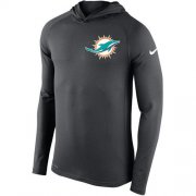 Wholesale Cheap Men's Miami Dolphins Nike Charcoal Stadium Touch Hooded Performance Long Sleeve T-Shirt