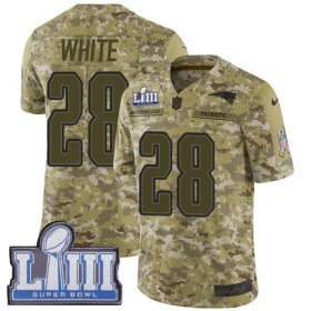 Wholesale Cheap Nike Patriots #28 James White Camo Super Bowl LIII Bound Men\'s Stitched NFL Limited 2018 Salute To Service Jersey