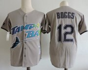 Wholesale Cheap Mitchell And Ness Rays #12 Wade Boggs Grey Throwback Stitched MLB Jersey