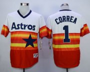 Wholesale Cheap Astros #1 Carlos Correa White/Orange 1980 Turn Back The Clock Stitched MLB Jersey