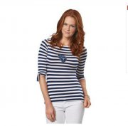 Wholesale Cheap Tennessee Titans Lady Striped Boatneck Three-Quarter Sleeve T-Shirt