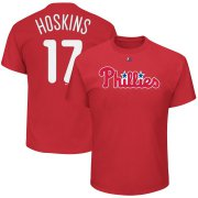 Wholesale Cheap Philadelphia Phillies #17 Rhys Hoskins Majestic Official Name & Number T-Shirt Red