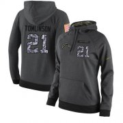 Wholesale Cheap NFL Women's Nike Los Angeles Chargers #21 LaDainian Tomlinson Stitched Black Anthracite Salute to Service Player Performance Hoodie