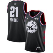 Wholesale Cheap 76ers #21 Joel Embiid Black Basketball Jordan Swingman 2019 All-Star Game Jersey