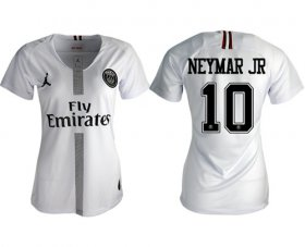 Wholesale Cheap Women\'s Jordan Paris Saint-Germain #10 Neymar Jr Away Soccer Club Jersey