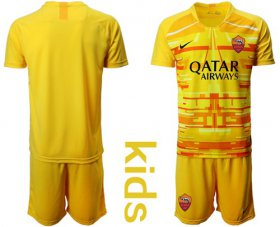 Wholesale Cheap Roma Blank Yellow Goalkeeper Kid Soccer Club Jersey