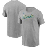 Wholesale Cheap Milwaukee Brewers Nike Cooperstown Collection Wordmark T-Shirt Heathered Gray