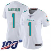Wholesale Cheap Nike Dolphins #1 Tua Tagovailoa White Women's Stitched NFL 100th Season Vapor Untouchable Limited Jersey
