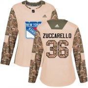 Wholesale Cheap Adidas Rangers #36 Mats Zuccarello Camo Authentic 2017 Veterans Day Women's Stitched NHL Jersey