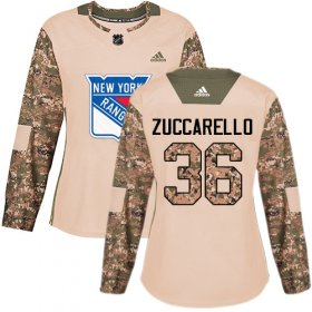 Wholesale Cheap Adidas Rangers #36 Mats Zuccarello Camo Authentic 2017 Veterans Day Women\'s Stitched NHL Jersey