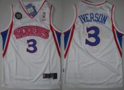 Wholesale Cheap NBA Philadelphia 76ers 3 Allen Iverson White 10th Soul Swingman Jersey