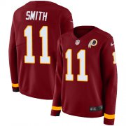 Wholesale Cheap Nike Redskins #11 Alex Smith Burgundy Red Team Color Women's Stitched NFL Limited Therma Long Sleeve Jersey