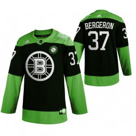 Wholesale Cheap Boston Bruins #37 Patrice Bergeron Men\'s Adidas Green Hockey Fight nCoV Limited NHL Jersey