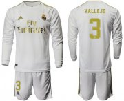Wholesale Cheap Real Madrid #3 Vallejo White Home Long Sleeves Soccer Club Jersey