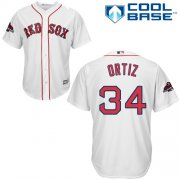 Wholesale Cheap Red Sox #34 David Ortiz White Cool Base 2018 World Series Stitched Youth MLB Jersey
