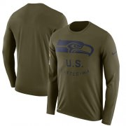 Wholesale Cheap Men's Seattle Seahawks Nike Olive Salute to Service Sideline Legend Performance Long Sleeve T-Shirt