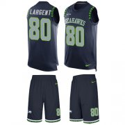 Wholesale Cheap Nike Seahawks #80 Steve Largent Steel Blue Team Color Men's Stitched NFL Limited Tank Top Suit Jersey