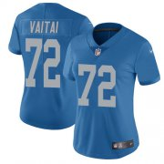 Wholesale Cheap Nike Lions #72 Halapoulivaati Vaitai Blue Throwback Women's Stitched NFL Vapor Untouchable Limited Jersey