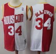 Wholesale Cheap Split Fashion Rockets #34 Hakeem Olajuwon Red White Stitched Basketball Jersey