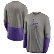 Wholesale Cheap Minnesota Vikings Nike Sideline Player Performance Long Sleeve T-Shirt Heathered Gray Purple
