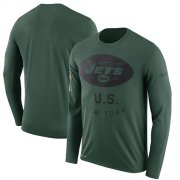 Wholesale Cheap Men's New York Jets Nike Green Salute to Service Sideline Legend Performance Long Sleeve T-Shirt