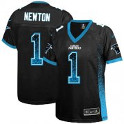 Wholesale Cheap Nike Panthers #1 Cam Newton Black Team Color Women's Stitched NFL Elite Drift Fashion Jersey