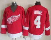 Wholesale Red Wings #4 Gordie Howe Red CCM Throwback Stitched NHL Jersey