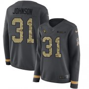 Wholesale Cheap Nike Cardinals #31 David Johnson Anthracite Salute to Service Women's Stitched NFL Limited Therma Long Sleeve Jersey