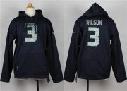 Wholesale Cheap Nike Seahawks #3 Russell Wilson Steel Blue Youth Player NFL Hoodie