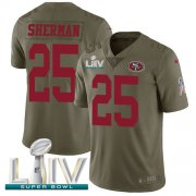 Wholesale Cheap Nike 49ers #25 Richard Sherman Olive Super Bowl LIV 2020 Men's Stitched NFL Limited 2017 Salute To Service Jersey