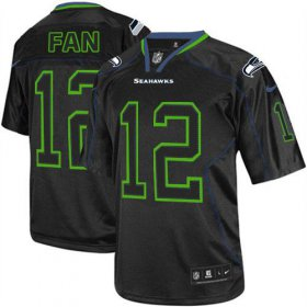 Wholesale Cheap Nike Seahawks #12 Fan Lights Out Black Men\'s Stitched NFL Elite Jersey