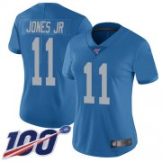 Wholesale Cheap Nike Lions #11 Marvin Jones Jr Blue Throwback Women's Stitched NFL 100th Season Vapor Limited Jersey