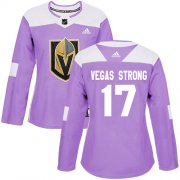Wholesale Cheap Adidas Golden Knights #17 Vegas Strong Purple Authentic Fights Cancer Women's Stitched NHL Jersey