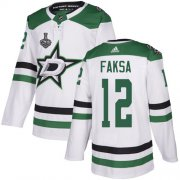 Wholesale Cheap Adidas Stars #12 Radek Faksa White Road Authentic 2020 Stanley Cup Final Stitched NHL Jersey