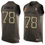 Wholesale Cheap Nike Browns #78 Jack Conklin Green Men's Stitched NFL Limited Salute To Service Tank Top Jersey