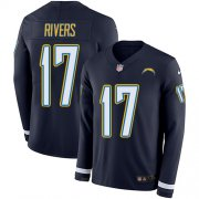 Wholesale Cheap Nike Chargers #17 Philip Rivers Navy Blue Team Color Men's Stitched NFL Limited Therma Long Sleeve Jersey