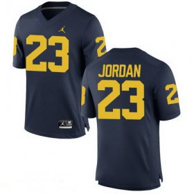 Wholesale Cheap Men\'s Michigan Wolverines #23 Michael Jordan Navy Blue Stitched College Football Brand Jordan NCAA Jersey