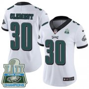 Wholesale Cheap Nike Eagles #30 Corey Clement White Super Bowl LII Champions Women's Stitched NFL Vapor Untouchable Limited Jersey