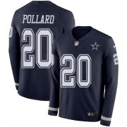 Wholesale Cheap Nike Cowboys #20 Tony Pollard Navy Blue Team Color Youth Stitched NFL Limited Therma Long Sleeve Jersey