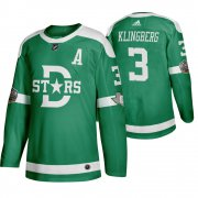 Wholesale Cheap Adidas Dallas Stars #3 John Klingberg Men's Green 2020 Winter Classic Retro NHL Jersey