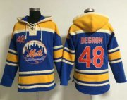 Wholesale Cheap Mets #48 Jacob DeGrom Blue Sawyer Hooded Sweatshirt MLB Hoodie