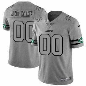 Wholesale Cheap New York Jets Custom Men\'s Nike Gray Gridiron II Vapor Untouchable Limited NFL Jersey